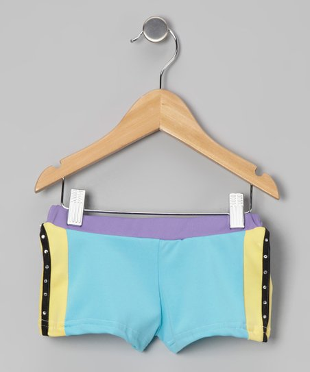 Turquoise & Yellow Active Shorts - Girls