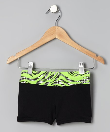 Lime & Black Zebra Shorts - Toddler & Girls