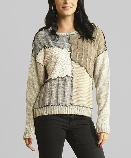 Gray & Khaki Patchwork Sweater