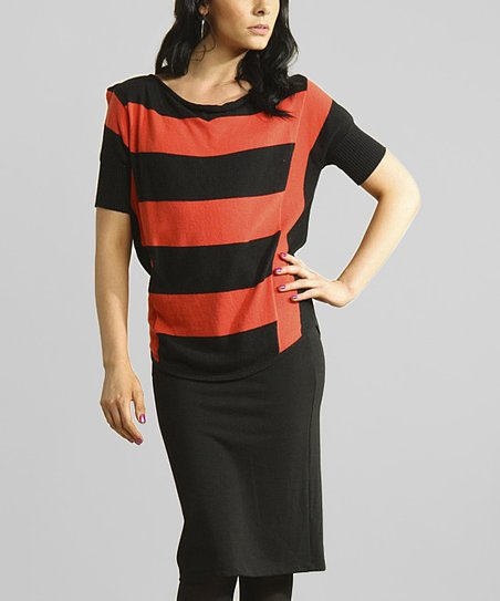 Red & Black Stripe Top