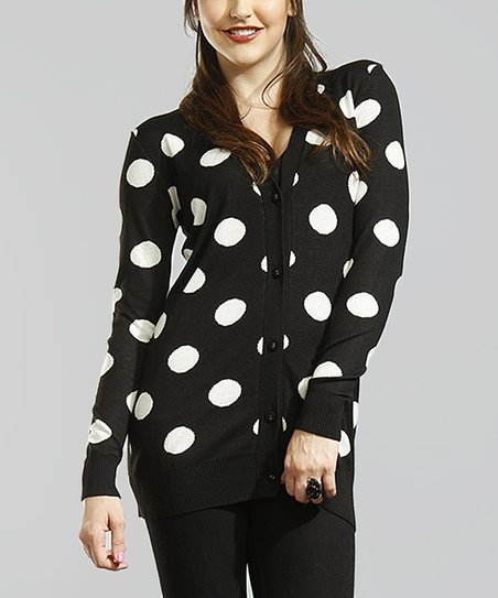Black & White Polka Dot Jacquard Knit Cardigan