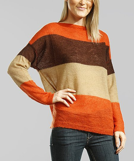Orange & Brown Stripe Dolman Sweater