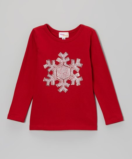 Red Sequin Snowflake Tee - Toddler & Girls