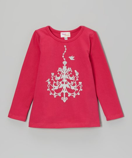 Hot Pink & Silver Glitter Chandelier Tee - Toddler & Girls