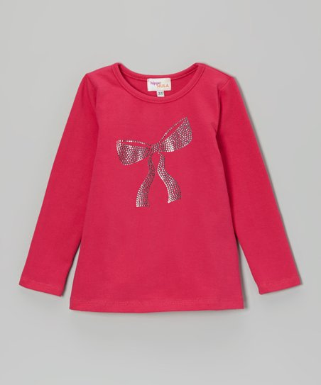 Hot Pink Sequin Bow Tee - Toddler & Girls