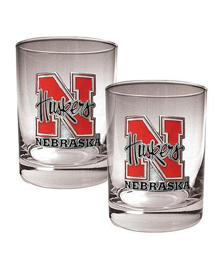 Nebraska Cornhuskers Rocks 14-Oz. Glass – Set of Two