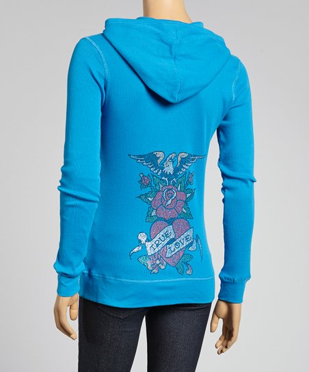 Turquoise 'True Love' Zip-Up Hoodie