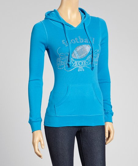 Blue 'Football Mom' Hoodie