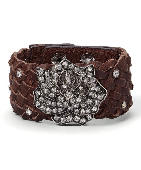 Brown Crystal Rose Woven Bracelet