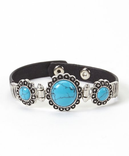 Turquoise & Black Leather Expandable Bracelet