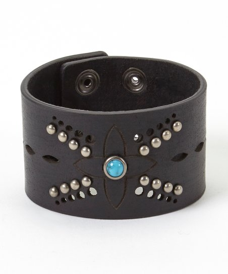 Turquoise Studded Black Leather Bracelet