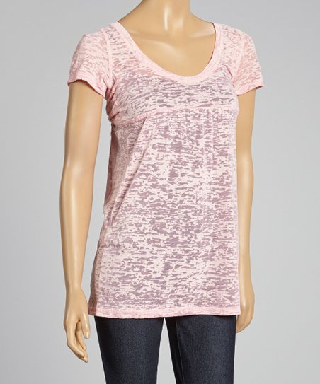 Red Burnout Scoop Neck Top