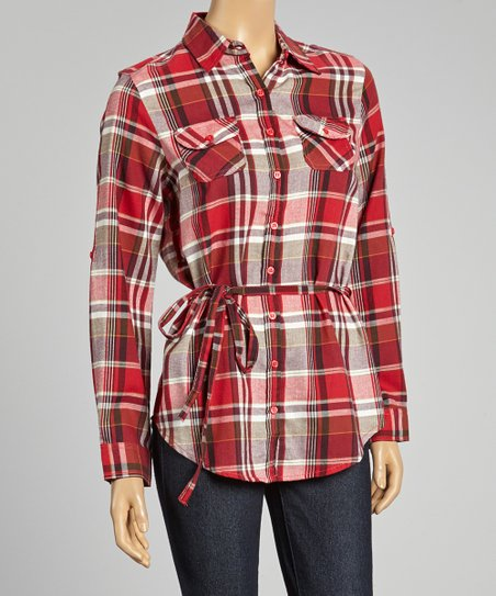Red Plaid Waist-Tie Button-Up - Women