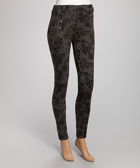 Charcoal Paisley Flocked Jeggings