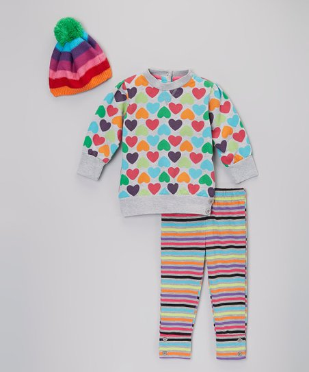 Gray Rainbow Stripe & Hearts Pants Set - Infant, Toddler & Girls