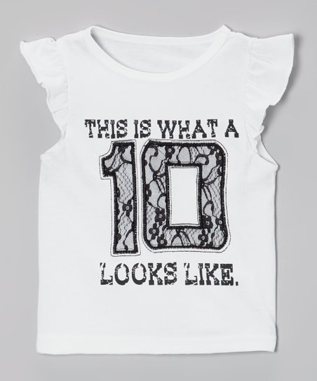 White '10' Angel-Sleeve Tee - Infant, Toddler & Girls