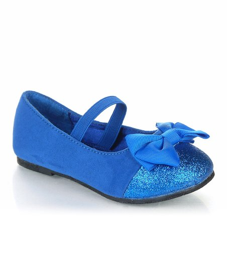Royal Blue Sparkle Bow Birona Flat