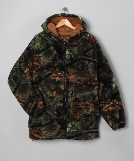 Green Camo Sherpa-Lined Zip-Up Hoodie - Boys