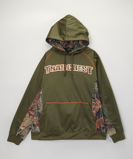 Olive Camo Logo Soft-Shell Hooded Sweatshirt - Men