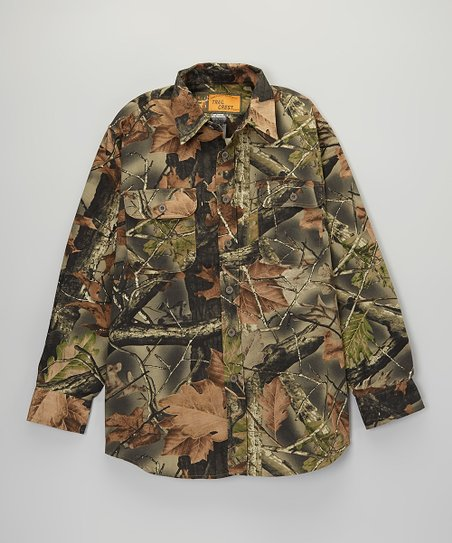 Brown Woodland Camo Button-Up - Men & Plus
