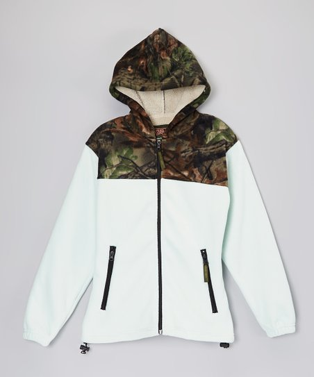 Light Blue & Green Camo Sherpa Hooded Jacket - Women
