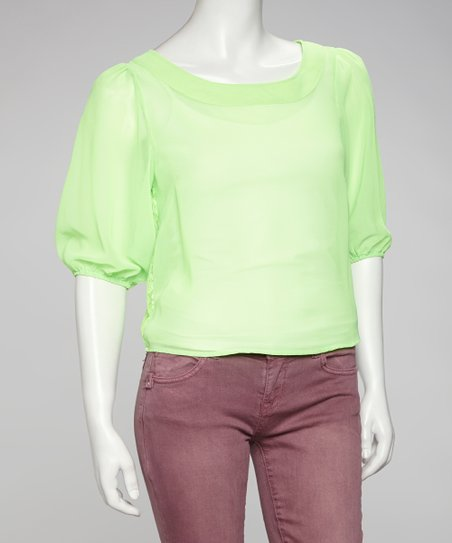 Neon Green Sheer Cutout-Back Top