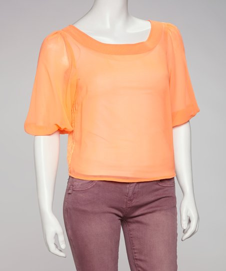 Neon Orange Sheer Cutout-Back Top