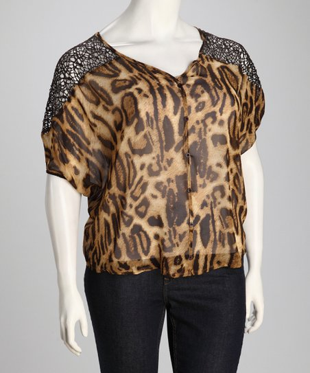Beige Cheetah Sheer Plus-Size Button-Up Top