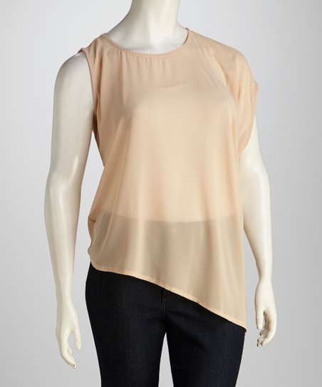 Taupe Asymmetric Plus-Size Top