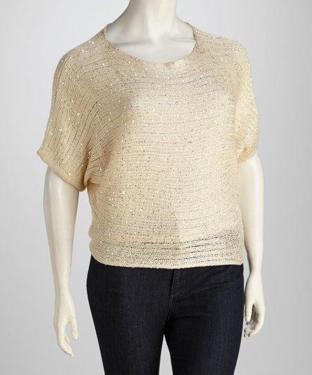 Cream Sparkle Plus-Size Top