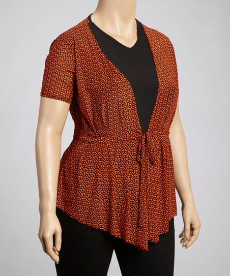 Rust Dot Layered Top - Plus