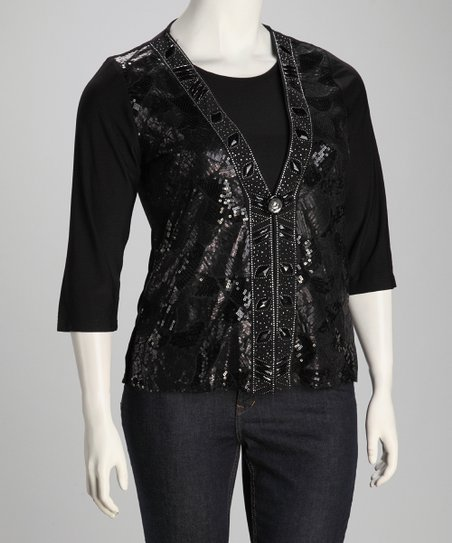 Black Sequin Plus-Size Layered Top