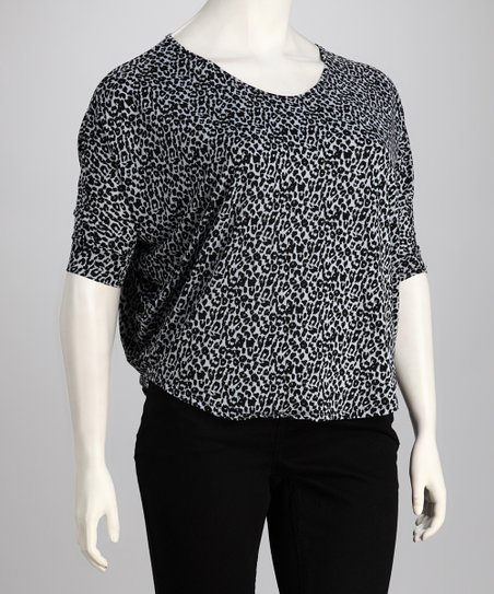 Black Leopard Plus-Size Top