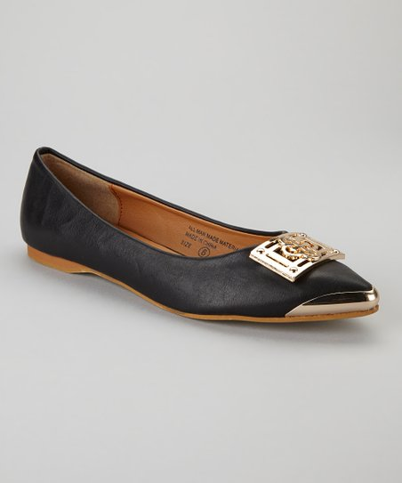 Black & Gold Buckle Flat