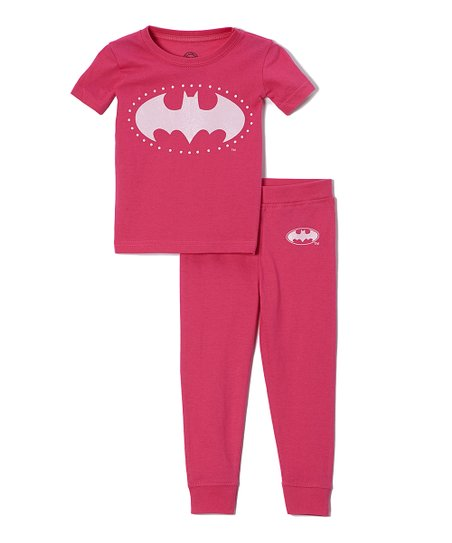 Hot Pink Batgirl Emblem Pajama Set - Toddler