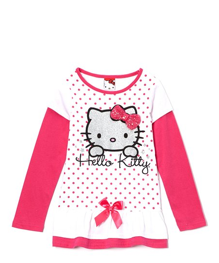 White & Pink Polka Dot Hello Kitty Layered Top - Girls