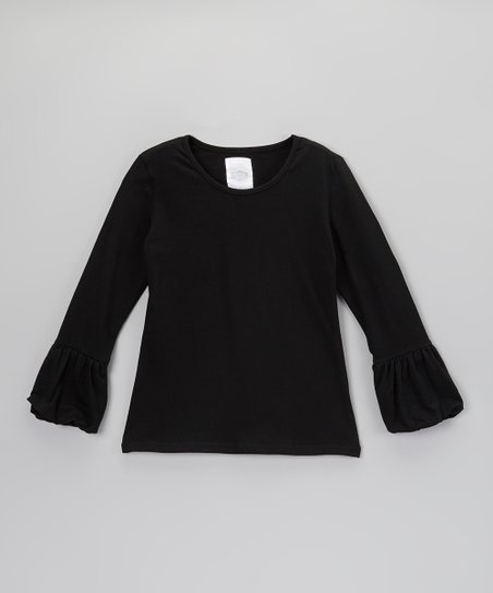 Black Bubble Cuff Long-Sleeve Tee - Toddler & Girls