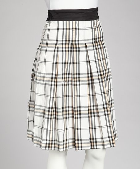 Black & White Plaid A-Line Skirt