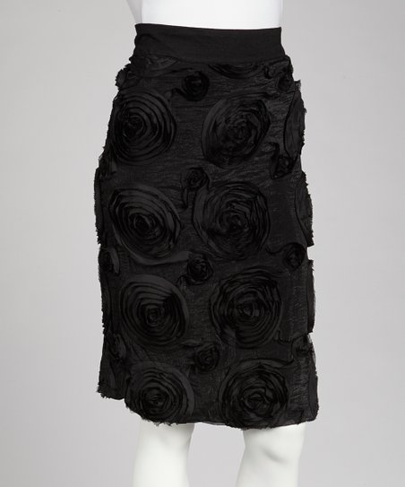 Black Rosette Pencil Skirt