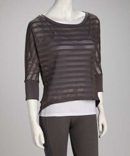 Dark Heather Gray Stripe Flow Dolman Top - Women & Plus