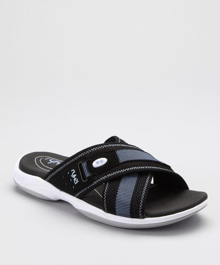 Black & Blue Cross-Strap Slide