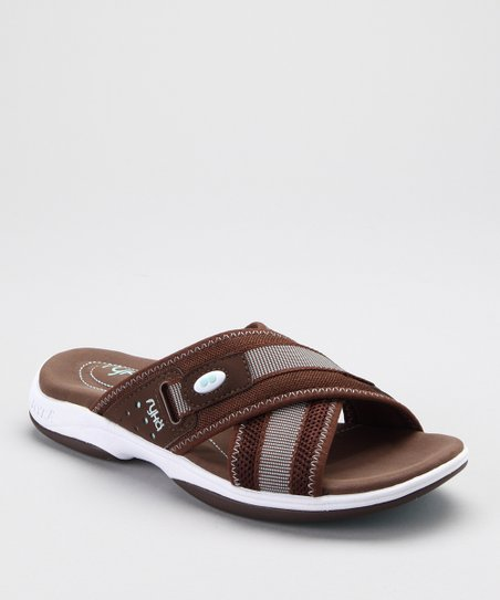 Brown & Gray Cross-Strap Slide