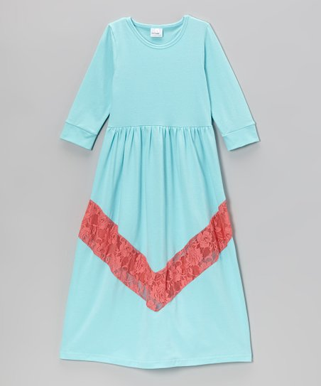 Teal Bella Lace Chevron Maxi Dress - Toddler & Girls