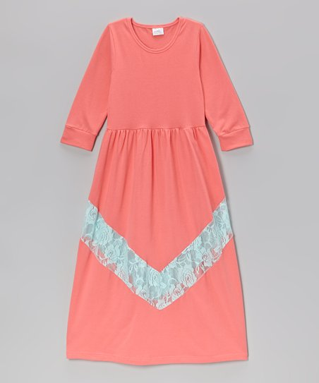 Watermelon Bella Lace Chevron Maxi Dress – Toddler & Girls