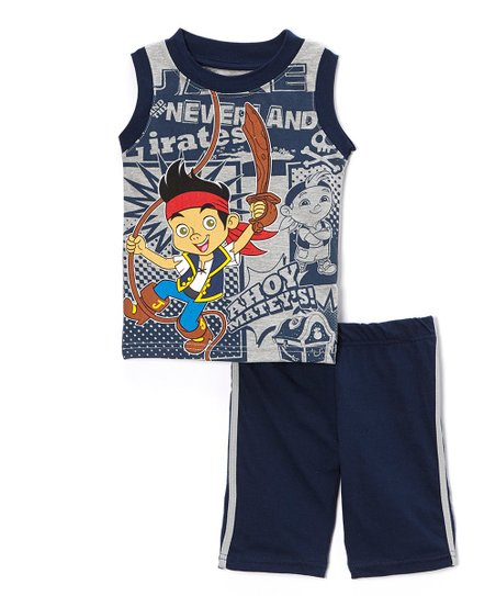 Navy Blue 'Ahoy Matey's!' Jake Tank & Shorts - Toddler