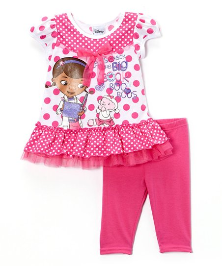 Pink Polka Dot 'Boo Boos' Ruffle Tunic & Leggings - Toddler