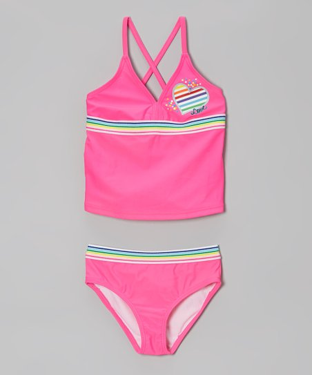 Pink Love Cats Crisscross Tankini - Girls