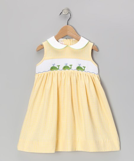 Yellow Gingham Whale Smocked Dress - Infant, Toddler & Girls