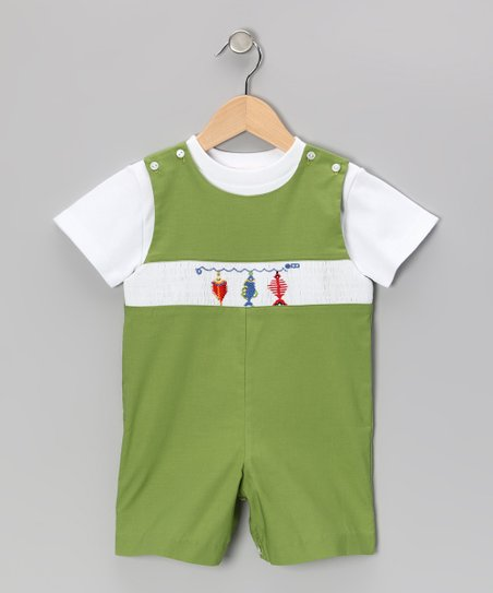 White Tee &amp; Green Fish John Johns - Toddler