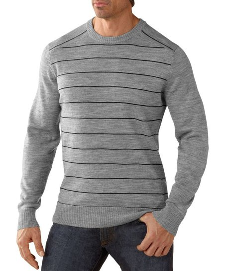 Silver & Heather Gray Stripe Wool Crew Neck Sweater - Men